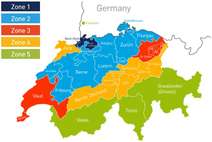 Pick-up and delivery zones in Switzerland